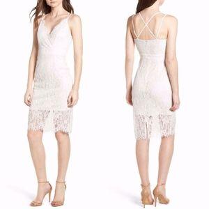 SOPRANO White LACE Criss Cross Back SHEATH DRESS M